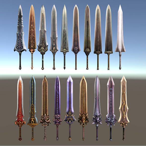 Low poly sword collection - 3DOcean Item for Sale