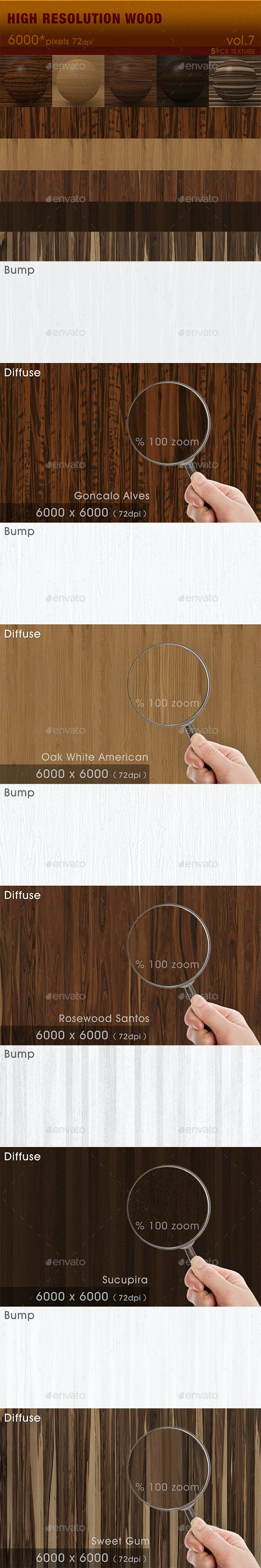 High Resolution Wood Textures Vol. 7 - 3DOcean Item for Sale