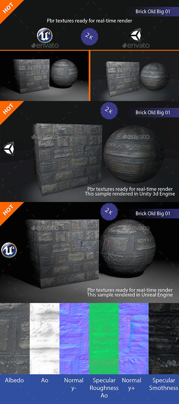 PBR Brick Old Big 02 Texture - 3DOcean Item for Sale