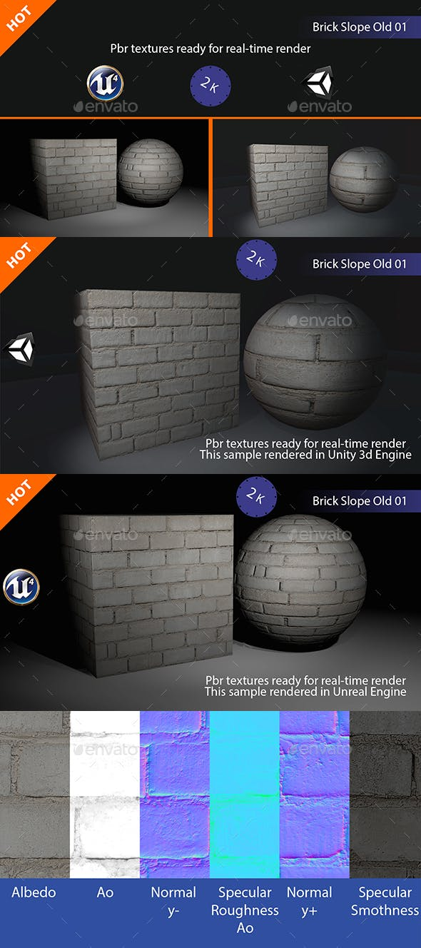 PBR Brick Slope Old 01 Texture - 3DOcean Item for Sale