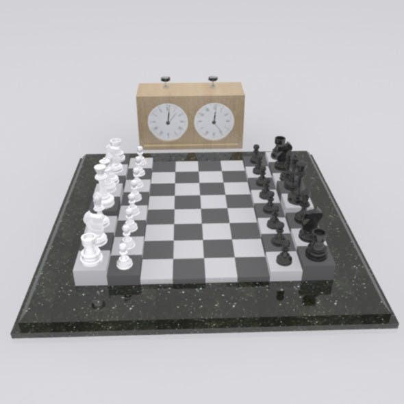 Chess board with chess clock - 3DOcean Item for Sale