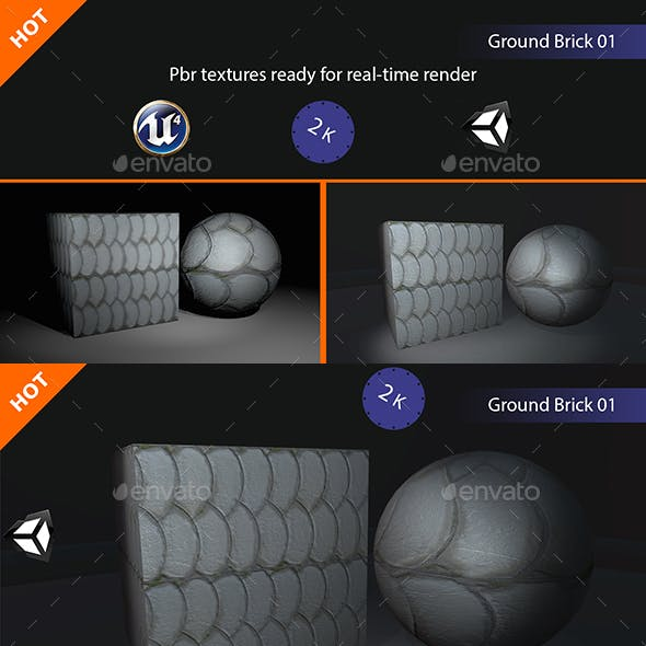 PBR Ground Brick 01 Texture