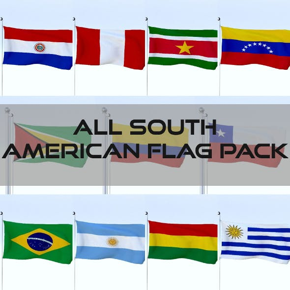 All South American Flag Pack - 3DOcean Item for Sale