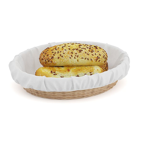 Buns with Sesame Seeds in Wicker Basket