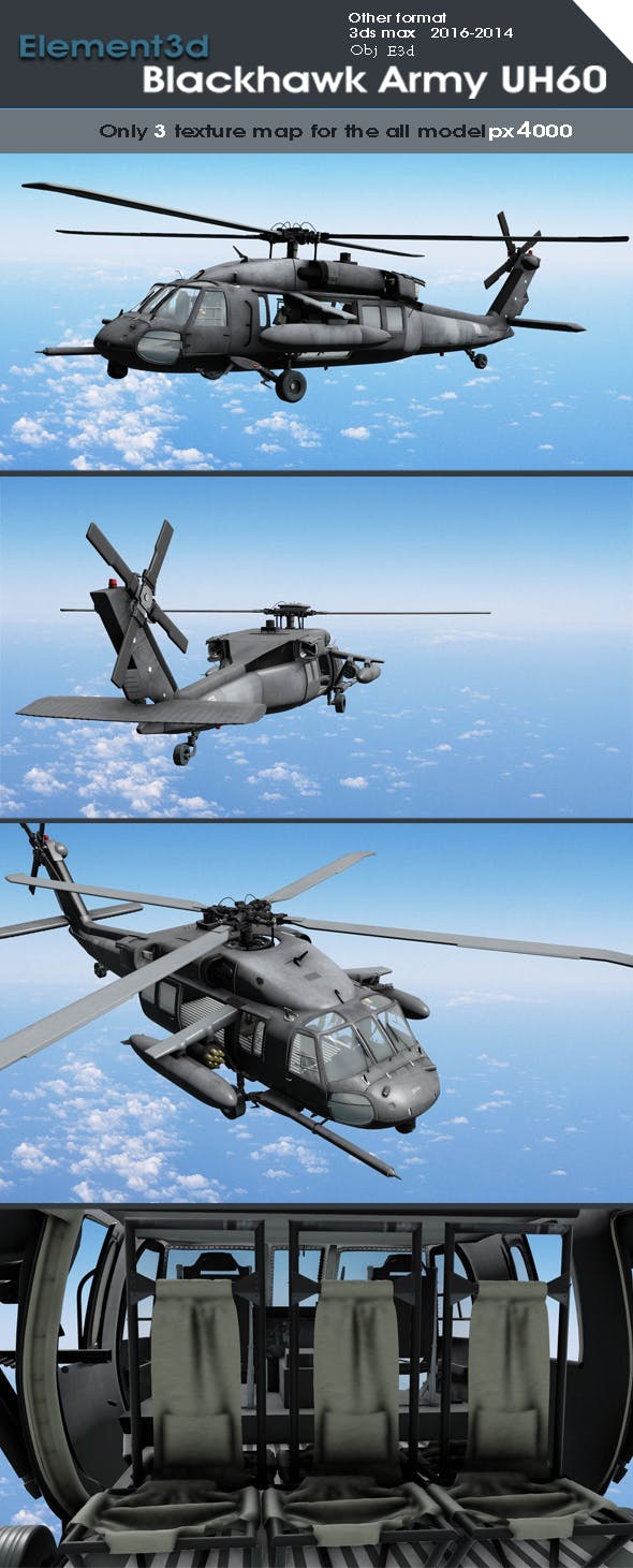 Element 3d Black Hawk Army Model - 3DOcean Item for Sale