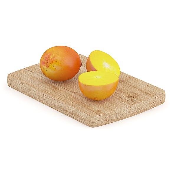 Persimmon Fruits on Wooden Board