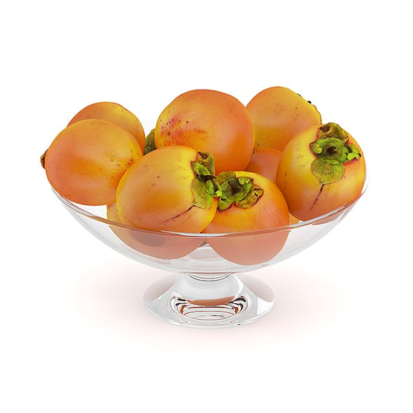 Persimmon Fruits in Glass Bowl - 3DOcean Item for Sale
