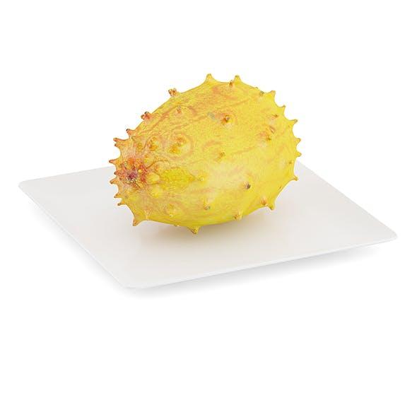 Horned Melon on White Plate