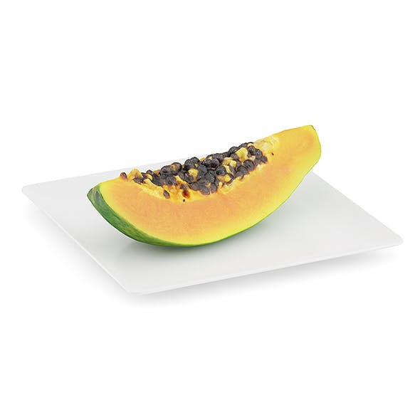 Papaya Slice on White Plate