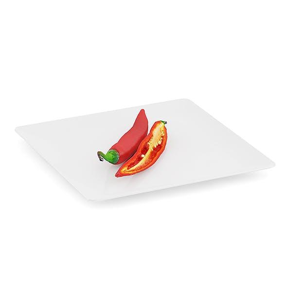 Chilli Pepper on White Plate - 3DOcean Item for Sale