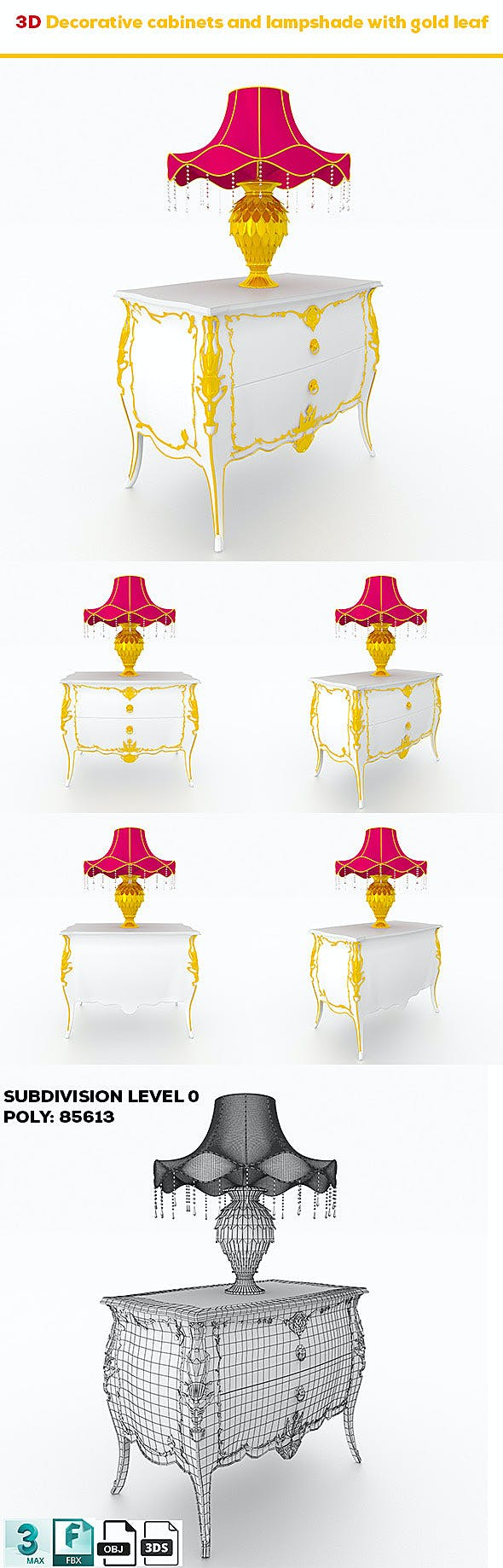 Decorative cabinets and lampshade with gold leaf - 3DOcean Item for Sale