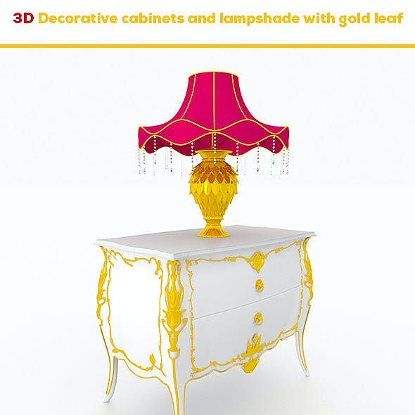 Decorative cabinets and lampshade with gold leaf