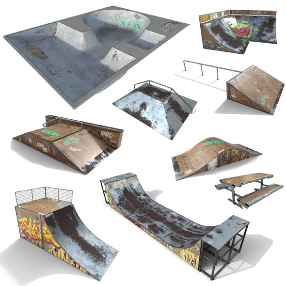 Skate Park Model PACK PBR Textures - 3DOcean Item for Sale