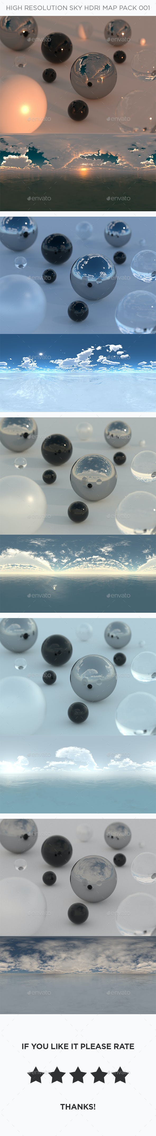 5 High Resolution Sky HDRi Maps Pack 001 - 3DOcean Item for Sale