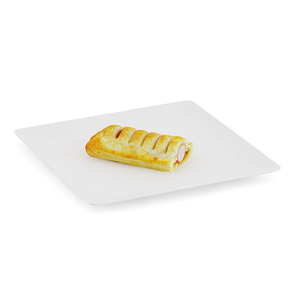 Slice of Sausage Roll on White Plate - 3DOcean Item for Sale