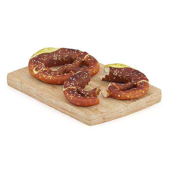 Pretzels on Wooden Board - 3DOcean Item for Sale