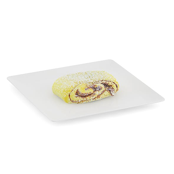 Sweet Bun on White Plate - 3DOcean Item for Sale
