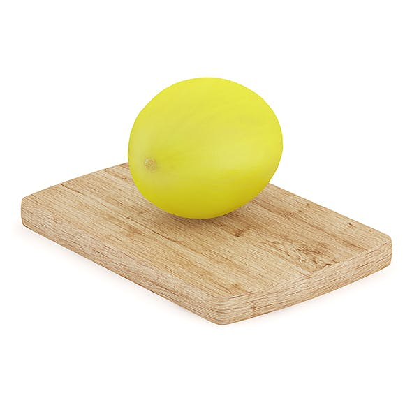 Yellow Melon on Wooden Board