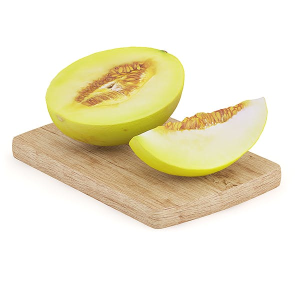 Halved Yellow Melon on Wooden Board