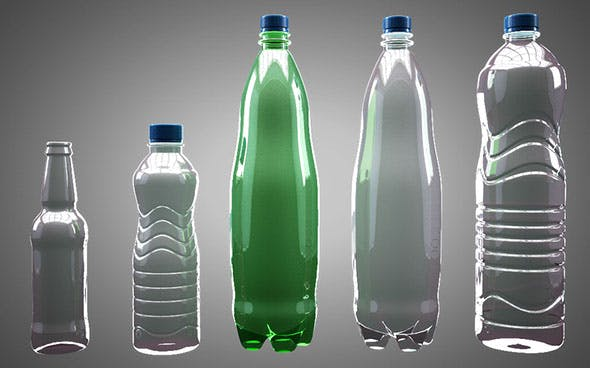 5 water bottles pack - 3DOcean Item for Sale