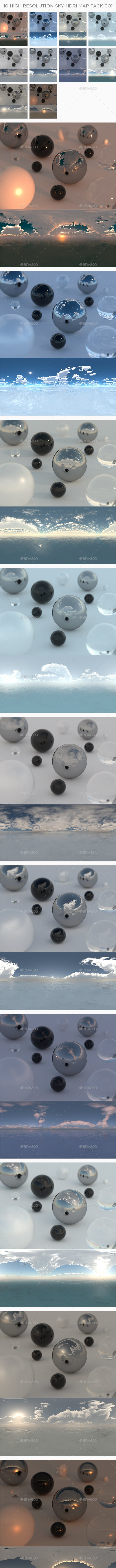 10 High Resolution Sky HDRi Maps Pack 001 - 3DOcean Item for Sale