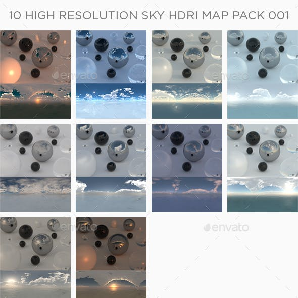 10 High Resolution Sky HDRi Maps Pack 001