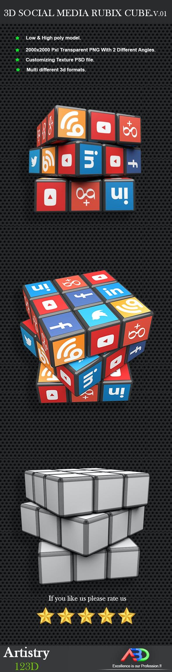 Social media 3D rubix cube - 3DOcean Item for Sale