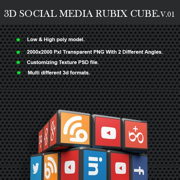 Social media 3D rubix cube
