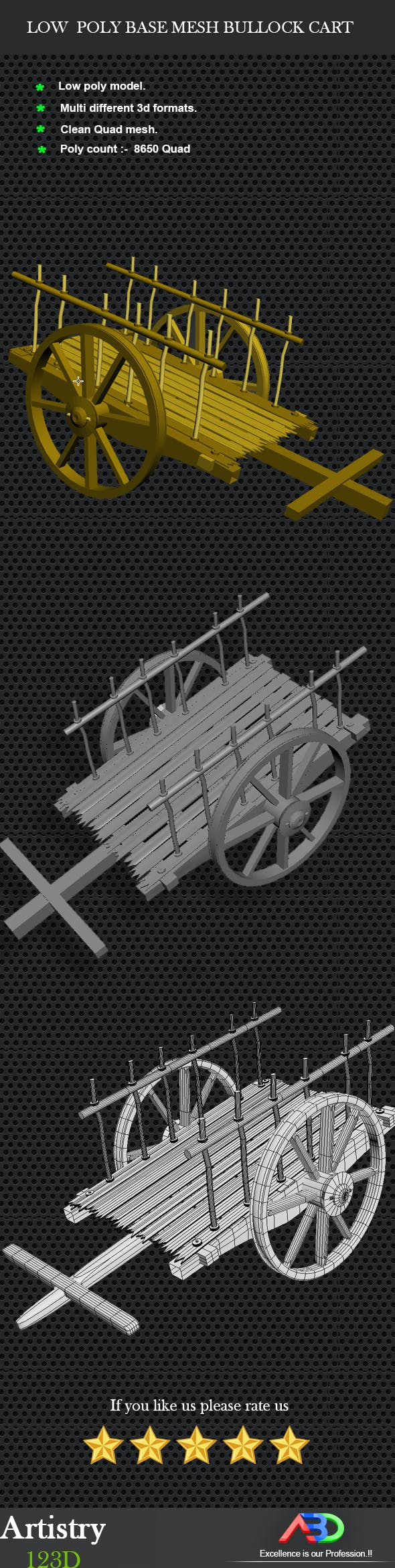 Low Poly Base Mesh Bullock cart (Cow cart) - 3DOcean Item for Sale