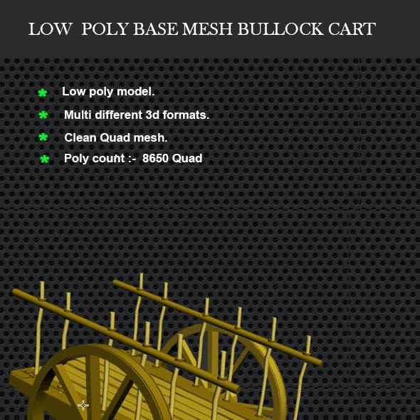 Low Poly Base Mesh Bullock cart (Cow cart)