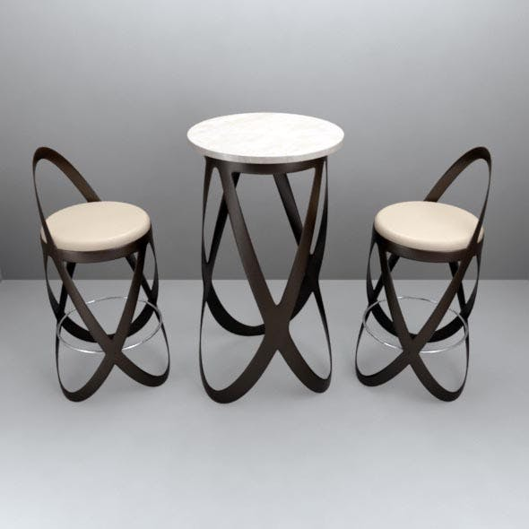 Beer barrel table for 2 persons. - 3DOcean Item for Sale