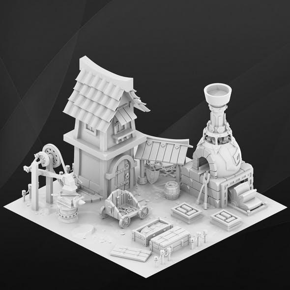 Fantasy game house. Blacksmith. - 3DOcean Item for Sale