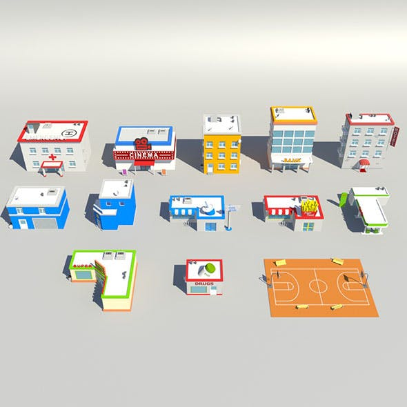 low poly building pack - 3DOcean Item for Sale