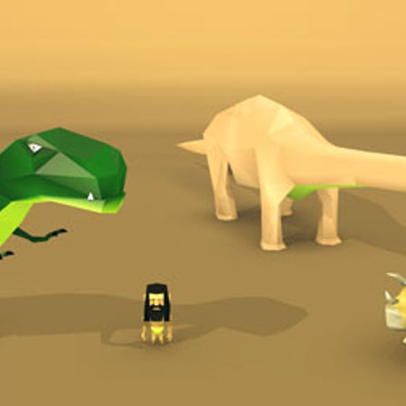 low poly dinosaurs and man