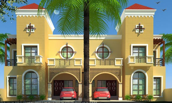 Beautiful Duplex House 3D Model with Material and Render Settings - 3DOcean Item for Sale