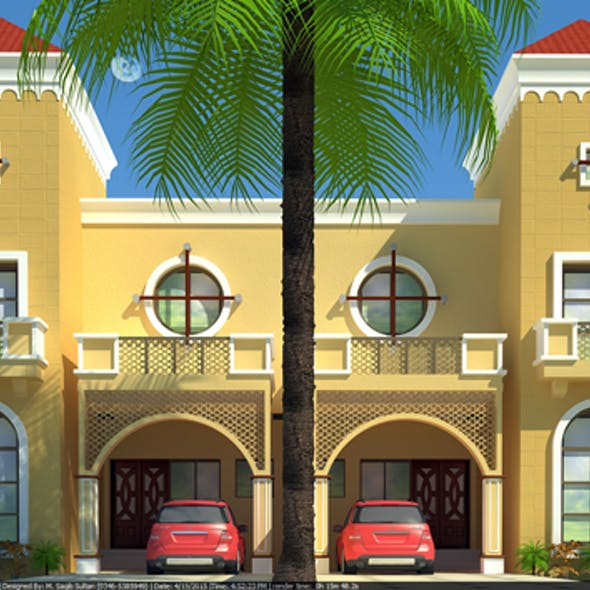 Beautiful Duplex House 3D Model with Material and Render Settings