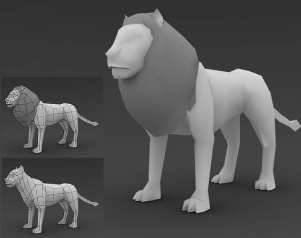 Low Poly Lion - 3DOcean Item for Sale
