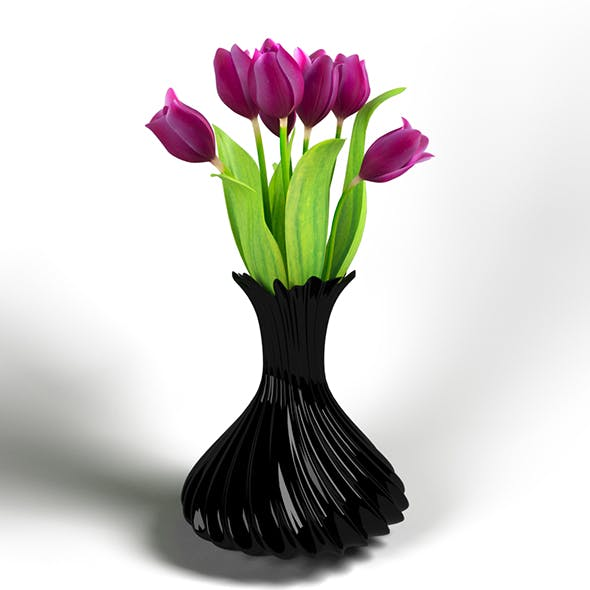 Vase with Tulips - 3DOcean Item for Sale