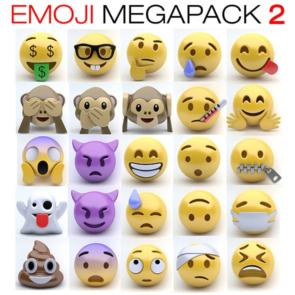 Emoji MEGAPACK 2 - 3DOcean Item for Sale
