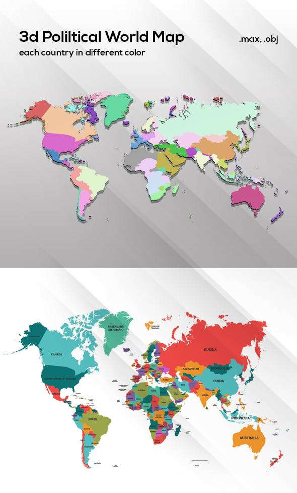 3d Political World Map Model For Infographic - 3DOcean Item for Sale