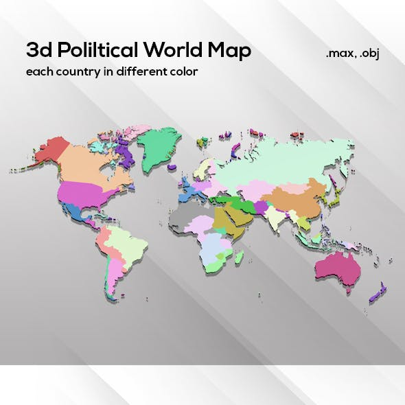 3d Political World Map Model For Infographic