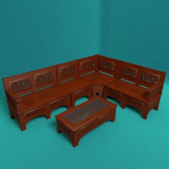 Wooden Corner Seat
