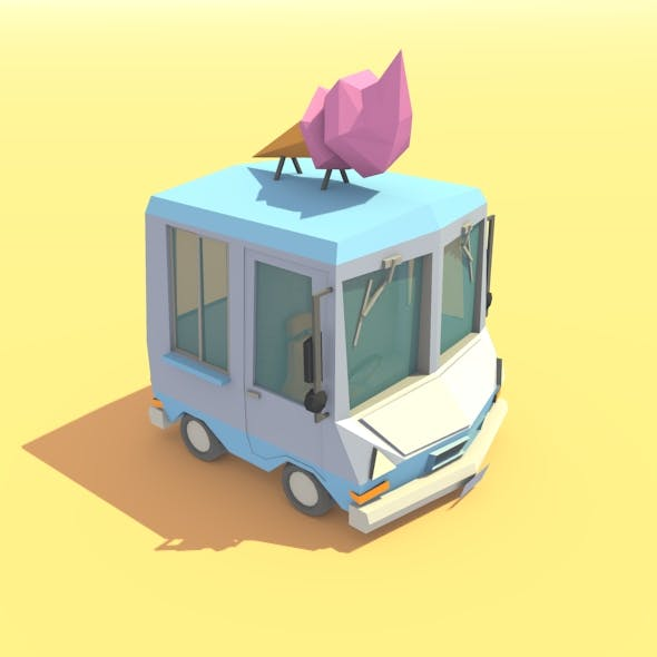 Low Poly Ice Cream Truck by MalongBrothers | 3DOcean