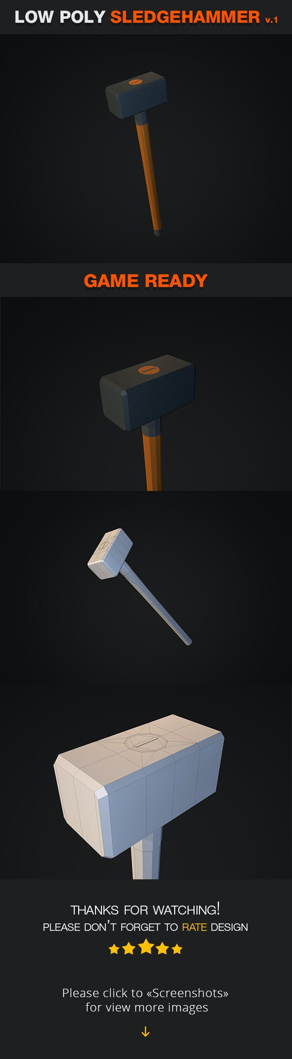Low Poly Sledgehammer V1 - 3DOcean Item for Sale