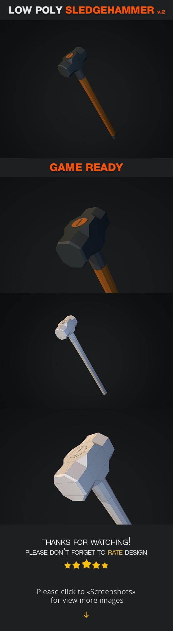 Low Poly Sledgehammer v.2 - 3DOcean Item for Sale
