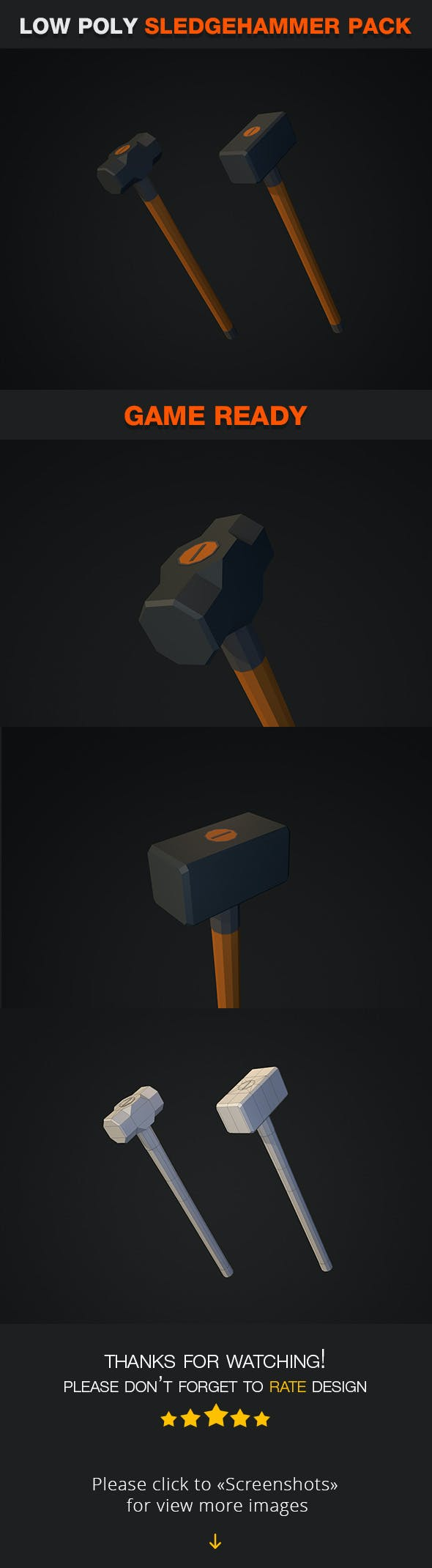 Low Poly Sledgehammer Pack - 3DOcean Item for Sale