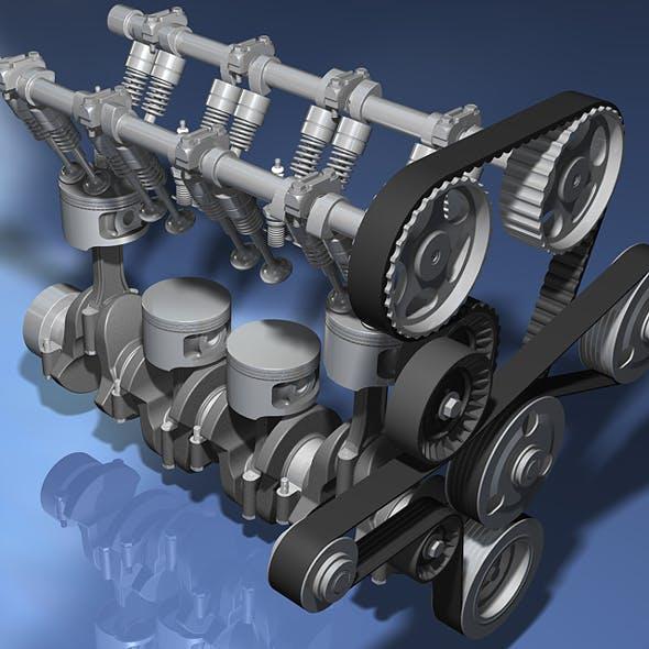 Engine (Inline Four-Cylinder) - 3DOcean Item for Sale