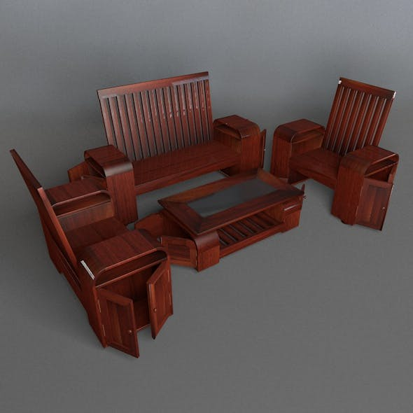 Wooden Guest Seat With Small Cupboard - 3DOcean Item for Sale