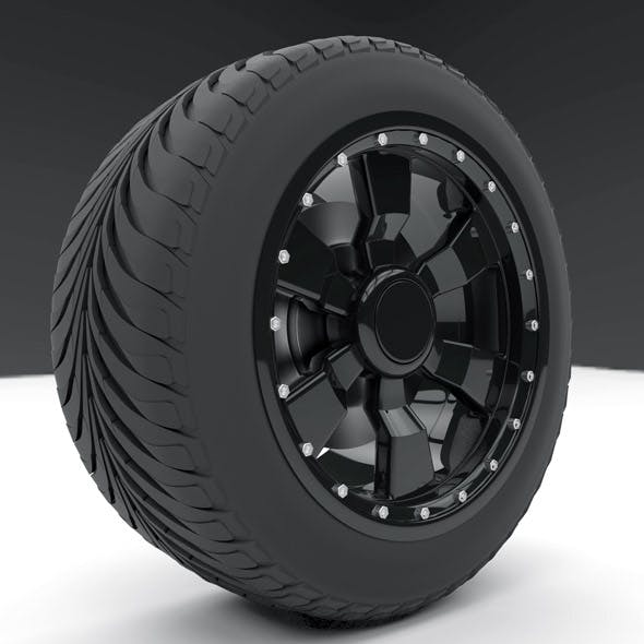 Tire with excellent rin for large and small car models with format for 3d studio, 4d cinema and