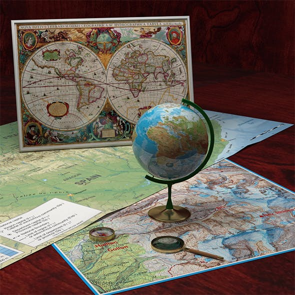 Compass, Globe, Old Map and Magnifying Glass